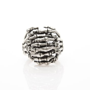 Skeleton Hand Antique Silver Plated Adjustable Ring