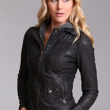 Bianca Hooded Leather Jacket from Doma at Krista K