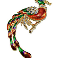 Rhinestone and Enamel Peacock Brooch Orange Green and Purple