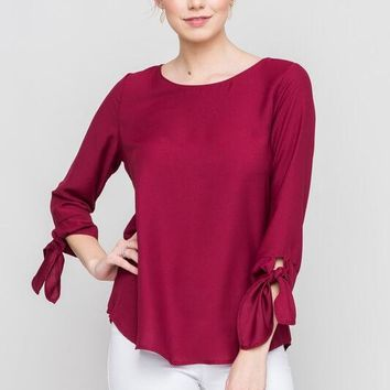 Burgundy Tied Sleeve Shirt