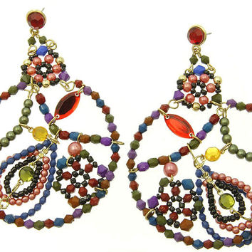 Seed Bead Mixed Bead Earrings Multi Color Red