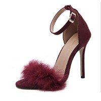 new pattern summer word buckle stiletto heel fish mouth really rabbit high heels 11cm sandals women s shoes big code 40