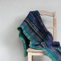 Chunky handwoven shawl in green blue and purple Fall winter women accessories, OOAK large wool wrap
