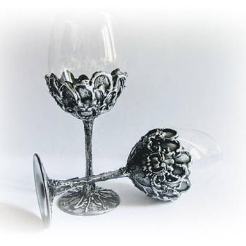 Silwer Goblets Wine Glasses Antique Wine Glasses Wedding Toasting Glasses Bride and Groom Wedding Gift Rustic Wedding Celebration