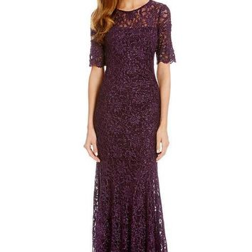 Decode 1.8 - Scalloped Lace Illusion Dress 182415X