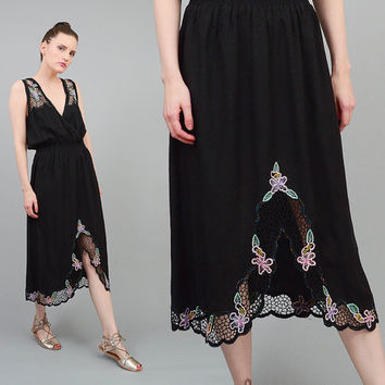 Vintage 80s Black Crochet CUT LACE Dress Floral Embroidered Boho Blouson Midi Dress with Sheer Cut Outs S M
