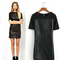 Fashion Short Sleeve Knitted Leather Patchwork Black Dresses = 1876343876
