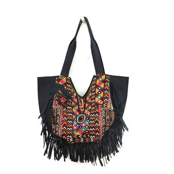 Gypsy Banjara Fringe Bag Real Leather Fringe Hand Bag Vintage Banjara Bag Black Colour Fringe Handbag