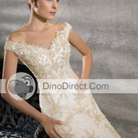Off Shoulder Beading Court Sheath Bridal Gown Wedding Dress, Europe - DinoDirect.com