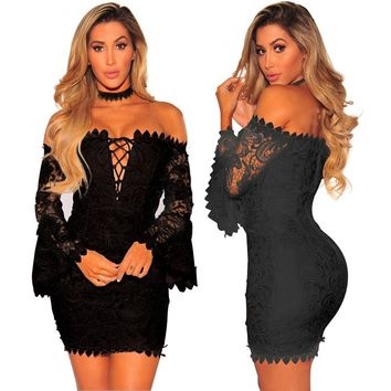 Off Shoulder Straps Hollow Out Long Trumpet Sleeves Short Lace Dress