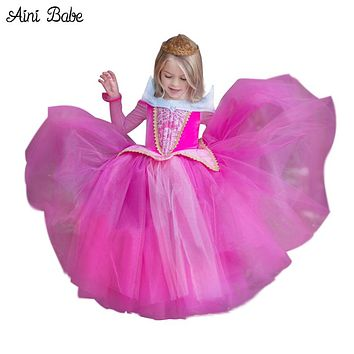 Children Fancy Dresses Princess Aurora Ball Gown For Girls Halloween Cosplay Costume Kids Party Wear Tulle Dress for Role-play