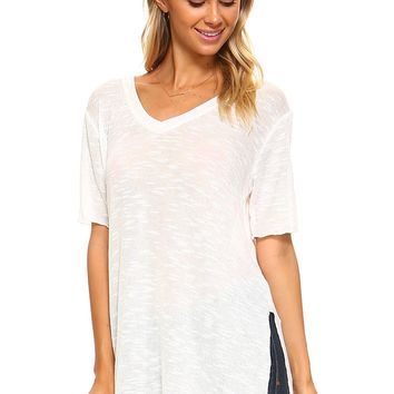 Ivory Slub Side Slit V-Neck Tunic - Women