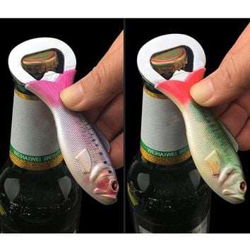 1Pcs Metal  Bottle Opener Fish Shaped Stainless Steel Beer Bottle Openers Wine Cap Lifter Bar Kitchen Party Supplies
