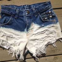 BLEACHED STUDDED cut off denim shorts