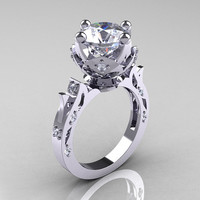 Modern Antique 14K White Gold 3.0 Carat Simulation and Natural Diamond Solitaire Wedding Ring R214-14KWGDSD