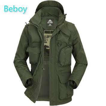 Beboy Fleece Jacket Men Hunting Jacket Hoodie Hunting Clothes Waterproof Tactical Hiking Jacket Multifunction Outdoor Sport Coat