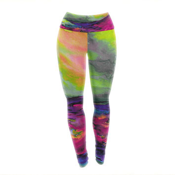 "Ebi Emporium ""Elevated 1, Magenta "" Orange Pink Yoga Leggings"