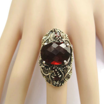 Huge Vintage Garnet and Marcasite Statement Ring Sterling Size 9