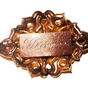"Victorian Brooch 14 K Gold Name Plate Floral Designs C Clasp 1 3/8"" Vintage Antique"