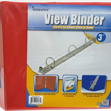 "3"""" Clear View Binder with Two Inside Pocket Red Case Pack 12"