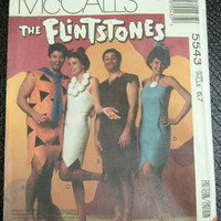 Flintstones Costume Sewing Pattern UNCUT Mccalls 5543 Child Sz6-7 Chest 25-26 Fred Wilma Barney Betty