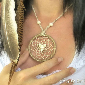 Dream Catcher Necklace  Real Sharks Tooth Necklace  by SmokySpirit