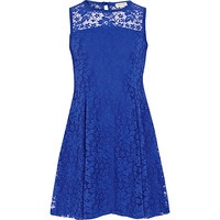 River Island Girls blue lace sleeveless dress
