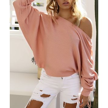 Autumn and winter new women's casual off-the-shoulder pit sweater