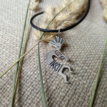 Kokopelli handmade pendant choker - antique silver tone pendant necklace - spiritual fashion fertility charm boho jewellery - gift for her