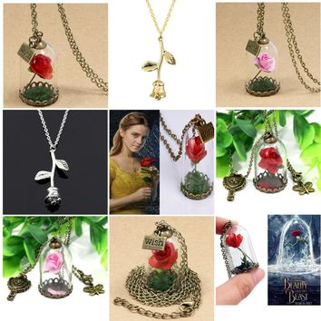 Fashion Real Rose Red Pink Dried Flower Glass Bottle Chain Necklace Pendant Beauty And The Beast Women Necklace Jewelry Gifts