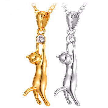Adorable Cat Pendant With Gold/Rhodium Plated Necklace
