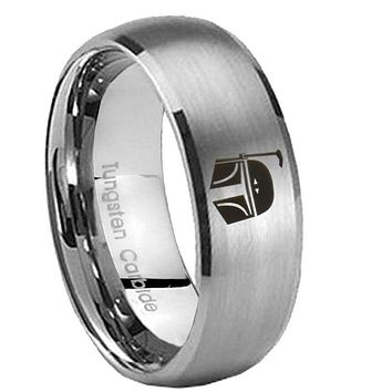 8MM Classic Satin Silver Dome Star Wars Boba Fett Sci Fi Science Tungsten Laser Engraved Ring