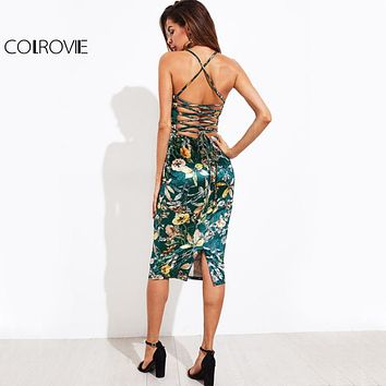 Lace Up Back Floral Velvet Dress Botanical Women Sexy Cami Midi Summer Dresses Green Elegant Bodycon Party Dress