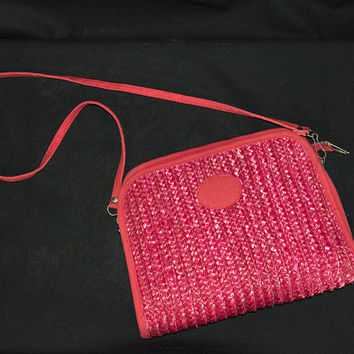 Vintage Lipstick Red Straw Clutch Bag Tiki Pin-up Removable Shoulder Strap