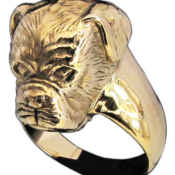 Sculpted Boxer Dog Ring in Bronze