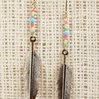 Beaded Feather Dangle Earrings