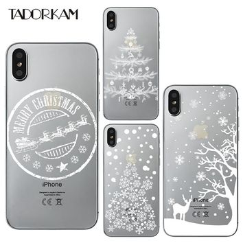 Christmas Tree phone cases For iphone 6 6s 7 plus Soft TPU White Winter Snowflake Deer Silicon Transparent Phone Back case