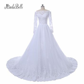 modabelle Civil White Lace Ball Gown Wedding Dresses Long Sleeve Robe De Mariee 2017 Real Photo Tulle Beaded Bridal Dress