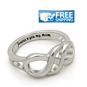 "Mother Gift - Infinity Promise Mother Ring Engraved on Inside with ""Forever Love You My Mom"", Sizes 6 to 9"