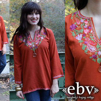 Vintage 70s Sienna Embroidered Mexican Boho Hippie Festival Tunic Top Blouse Shirt XS S M