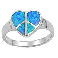 Sterling Silver Heart Peace Sign Hippie 12MM Blue Lab Opal Ring