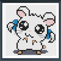 Hamtaro Modern Cross Stitch , Cute Bijou from Hamtaro Pattern Animal , Perfect For Beginners , PDF Format , Instant Download