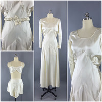 Vintage 1930s Wedding Dress, Slip & Lingerie Set, 1920s Wedding Gown – ThisBlueBird - Modern Vintage