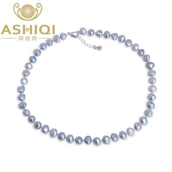 ASHIQI Black/Gray Baroque pearl Necklace 9-10mm Real Natural Freshwater pearl jewelry for women gift