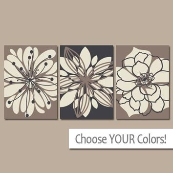 Flower Wall Art, Sepia Black Bedroom Canvas or Prints, Floral Bathroom Decor, Floral Living Room Pictures, Flower Dahlias, Set of 3 Pictures