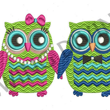 CHEVRON Girl & Boy OWLS Embroidery Design for 5x7 8x10 inch hoops, 8 Formats, Instant Download