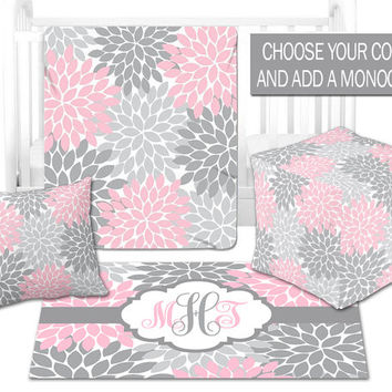 BABY NURSERY DECOR, Baby Blanket, Ottoman Pouf, Zipper Throw Pillow, Personalized Baby Monogram, Matching Nursery Bedding Set, Nursery Rug