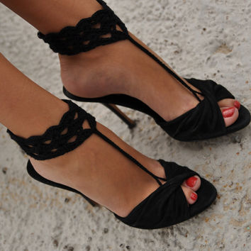 Black Crochet Barefoot Sandals Nude shoes Foot jewelry by barmine