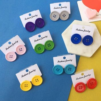 Exaggerated Funny Colorful Candy Color Buttons Stud Earrings Vintage Handmade Round Harajuku Earrings Jewelry Gift For Woman