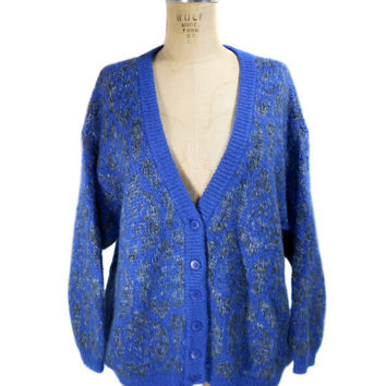 1980s Benetton Mohair Cardigan / United Colors of Benetton / Blue / Oversize Sweater / Hipster / Womens Vintage Sweater / Size 46